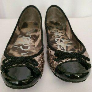 SAM EDELMAN Calypso Silver Quilted Black Size 7.5